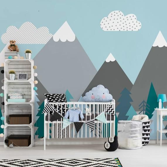Hand Painted Geometric Mountains Wallpaper Wall Mural Triangle
