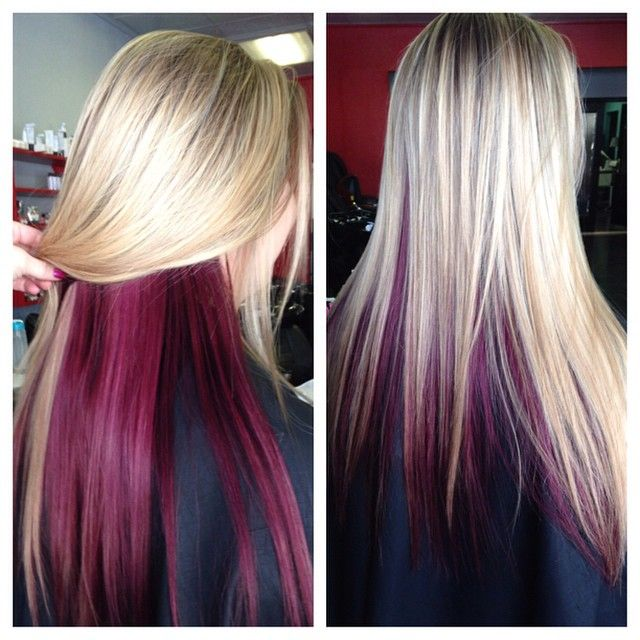 Carlydoeshair On Instagram Love Adding Color To Blondes Officially Played With Eve Hair Color Underneath Blonde And Burgandy Hair Blonde Hair Color