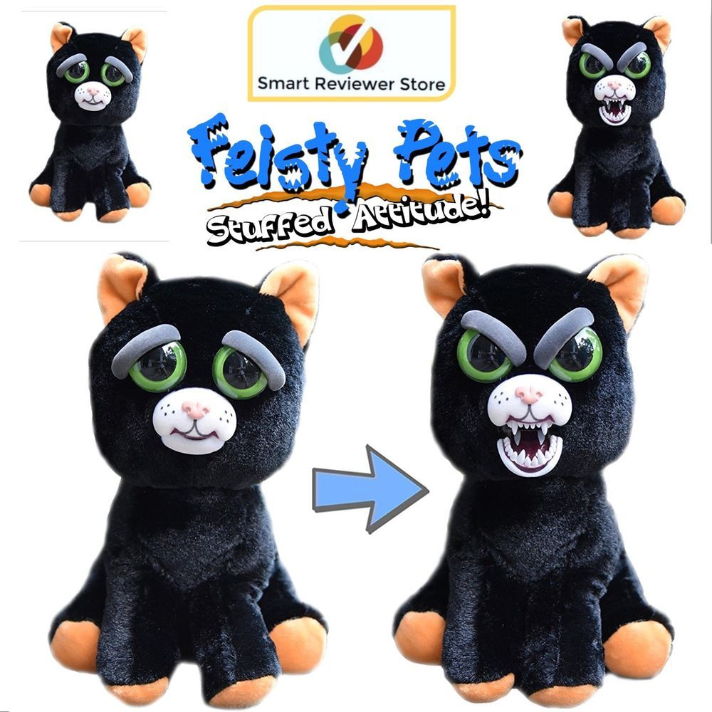 Feisty Pets Cute To Scary Stuffed Animal Plush Squeeze Toy Black Cat Katy Cobweb Feistypets Pets Black Cat Plush