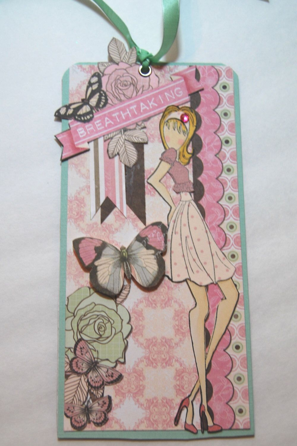 "Prima Doll Stamp Tag ""Breathtaking""- Handmade Paper Tag for a Girl, Book Mark, Use as a gift, Tag in pink by Smiles4Paper on Etsy https://www.etsy.com/listing/211620021/prima-doll-stamp-tag-breathtaking"