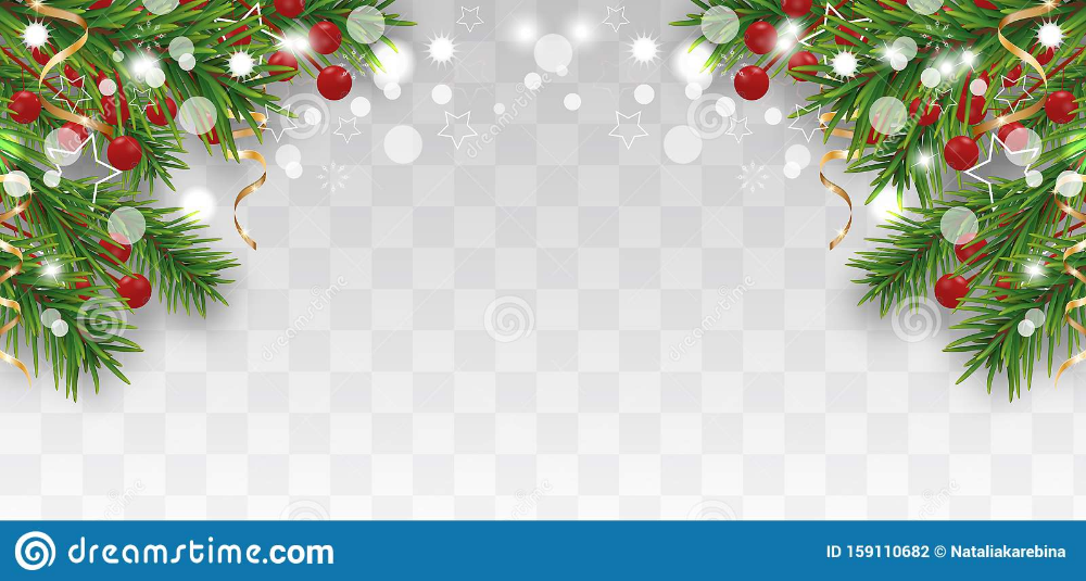 Christmas And Happy New Year Border With Christmas Tree Branches And Holly Berries Golden Ribbons And Star In 2020 Christmas Tree Branches Holly Berries Tree Branches