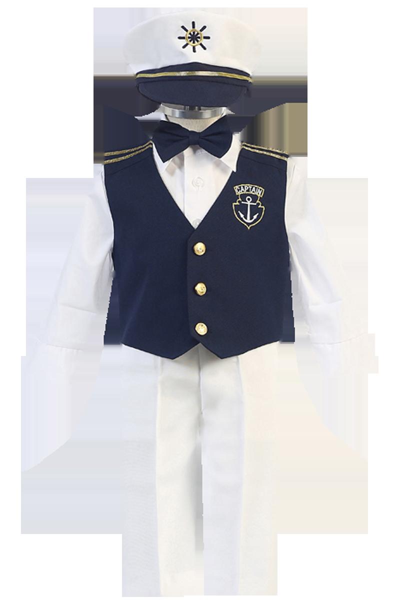 White & Navy Blue Nautical Sailor Vest & Pants 5 Piece Outfit with ...