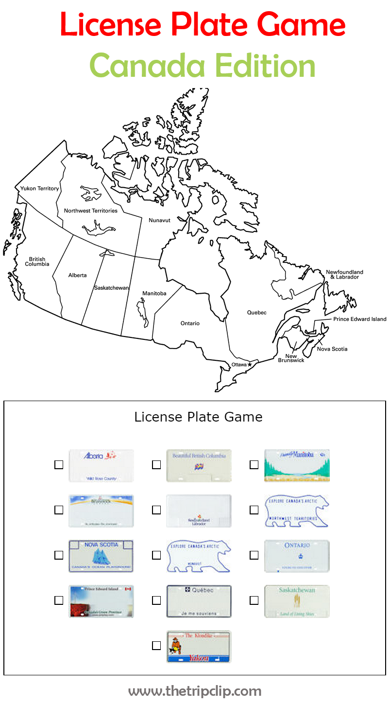 us and canadian license plate game plus lots of other printable