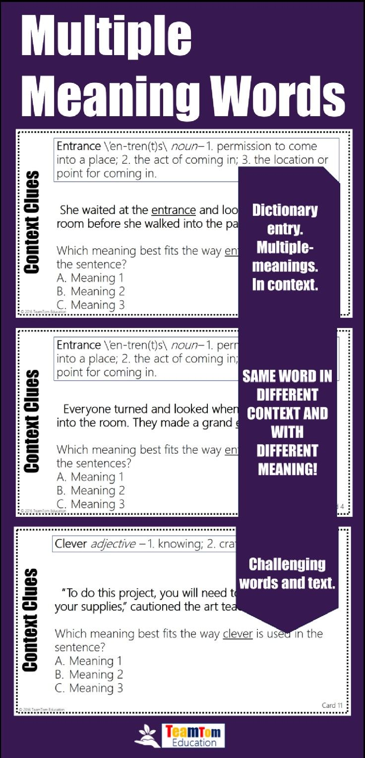 Multiple Meaning Words Task Cards. 12 cards with challenging text featuring  dictionary entries an…   Multiple meaning words [ 1527 x 736 Pixel ]