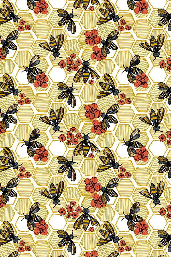 Colorful fabrics digitally printed by Spoonflower - Honey Bee Hexagon Large
