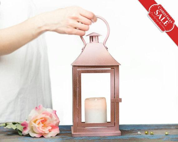 Rose Gold Lantern Centerpiece Rose Gold Wedding Decor Pink Gold Candle Holder Wedding Arrangement Rose Gold Outdoor Lantern Decorations Rose Gold Lantern Lantern Centerpieces Gold Lanterns