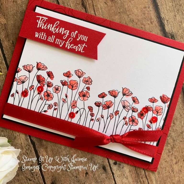 Stampin Up Painted Poppies Video Tutorial With Images Stampin Up Valentine Cards Poppy Cards Stampin Up Sympathy Cards