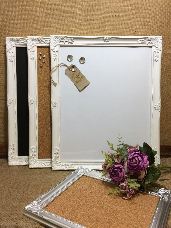 WHITE Ornate Framed Notice BOARD | White Frame Message Board ...