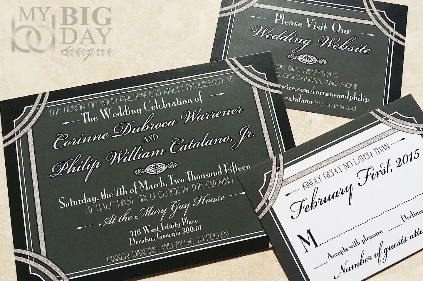1920 S Style Great Gatsby Wedding Invitation Hollywood Invites Glitter And Invitations