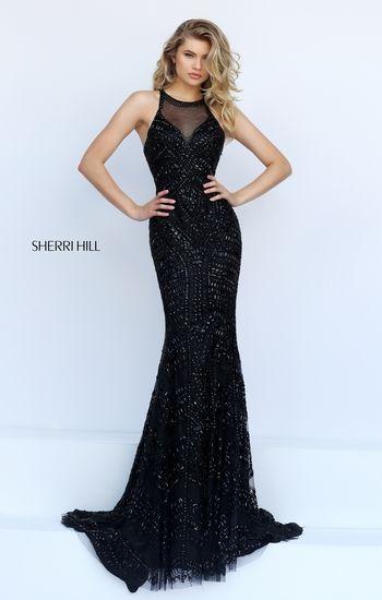 003dac3a27a  SherriHill 1959  black Silver Prom Dresses
