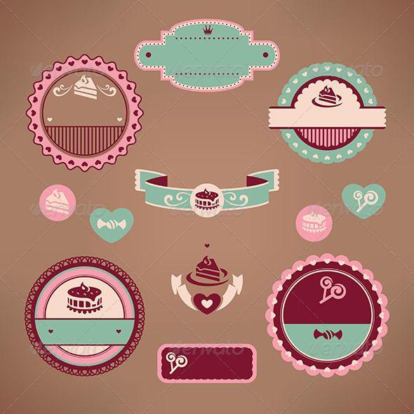 Bakery Logo Emblem Set:  Set Of Vintage Bakery Labels #GraphicRiver Set Of Vintage