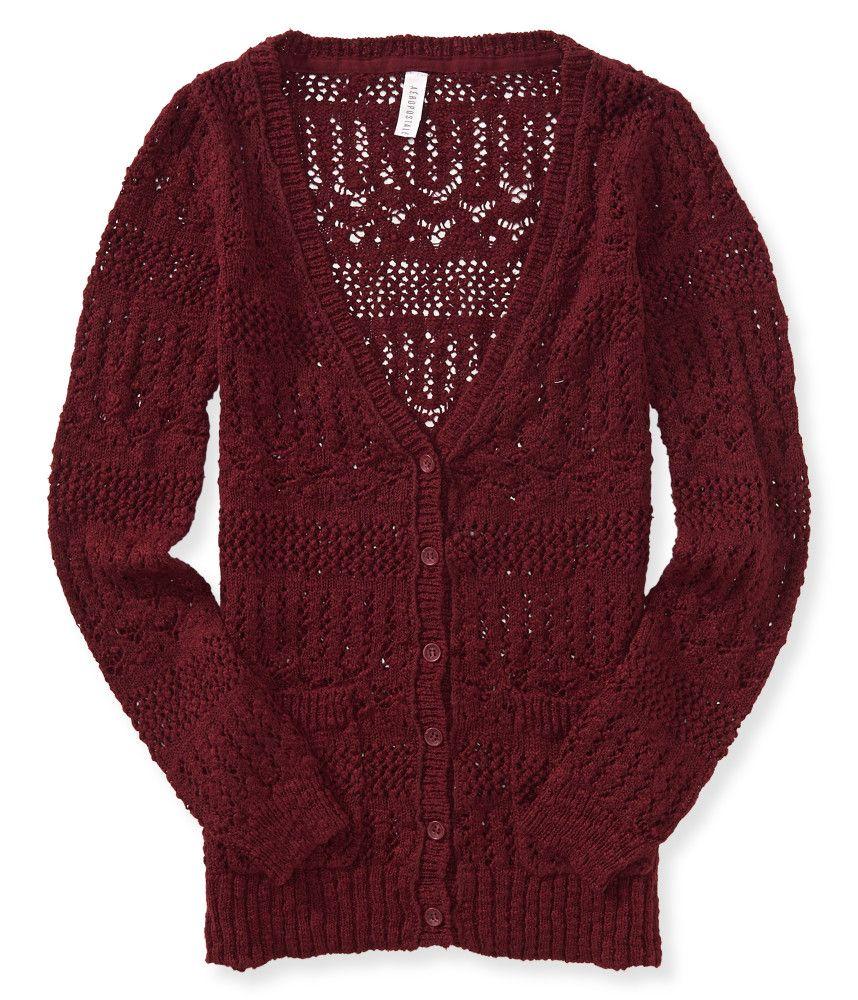 Sheer Open-Knit Boyfriend Cardigan - Aeropostale | Aeropostale ...