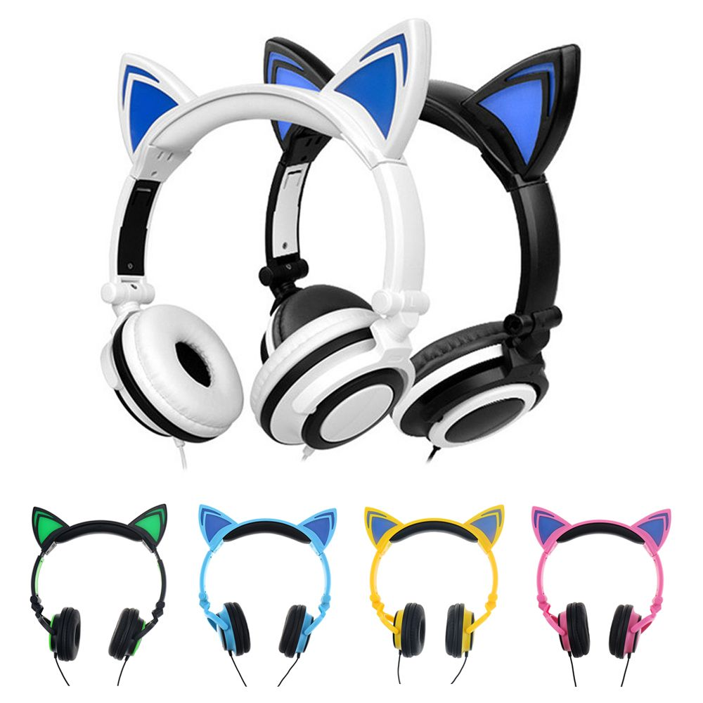 Foldable Flashing Glowing Cat Ear Headphones Gaming Headset Earphone Kkmoon Ex 01 Wireless Bluetooth Mini With Mic Led Light For Pc Laptop Computer Mobile Phone Earphones Pinterest