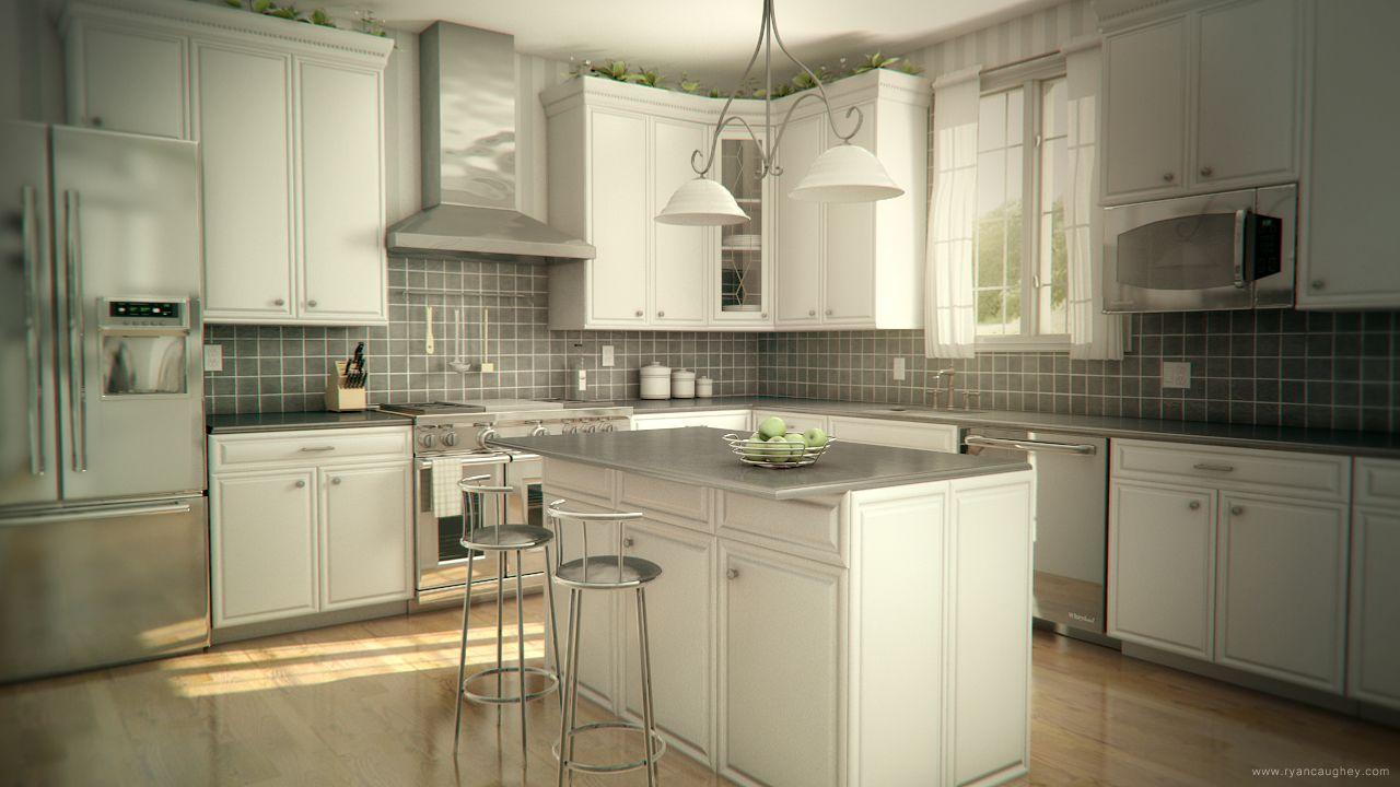 Kitchen Render 3d Maya Vray