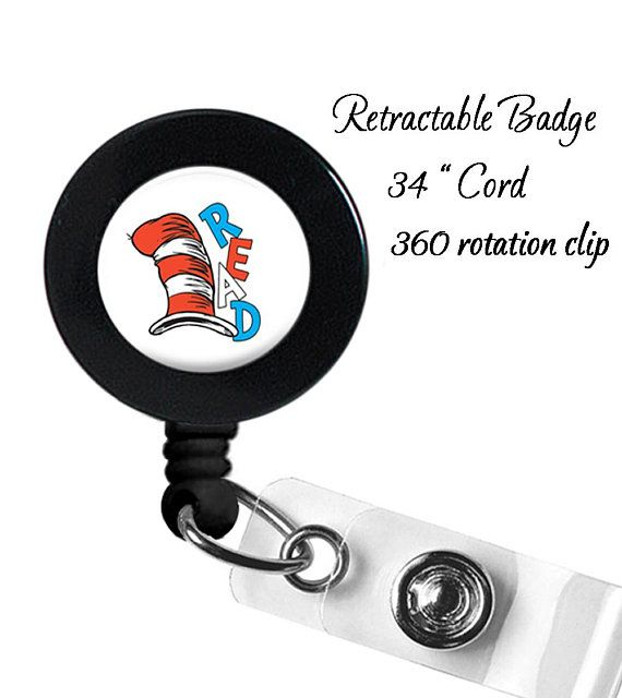 Dr Seuss 2 Badge Reel - Name Badge ID Holder - Gift - Retractable