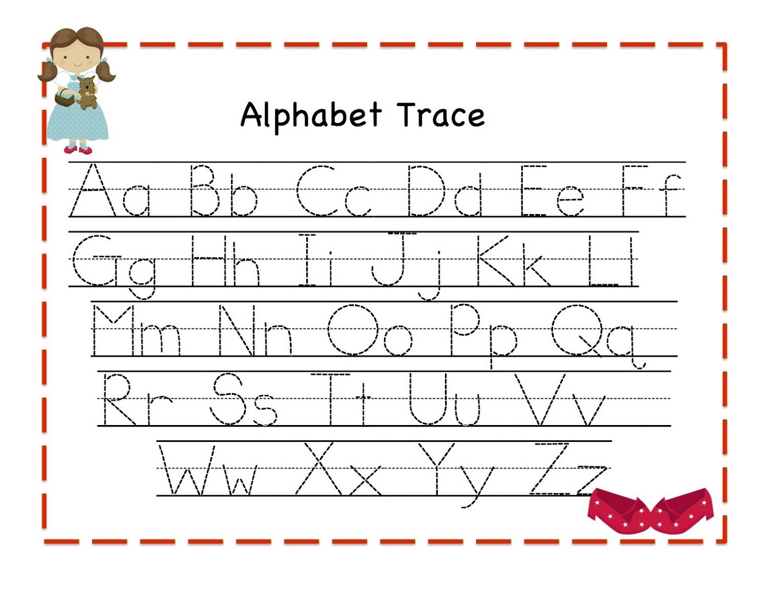Workbooks traceable alphabet worksheets a-z : Traceable Alphabet For Learning Exercise | Dear Joya | Kids ...