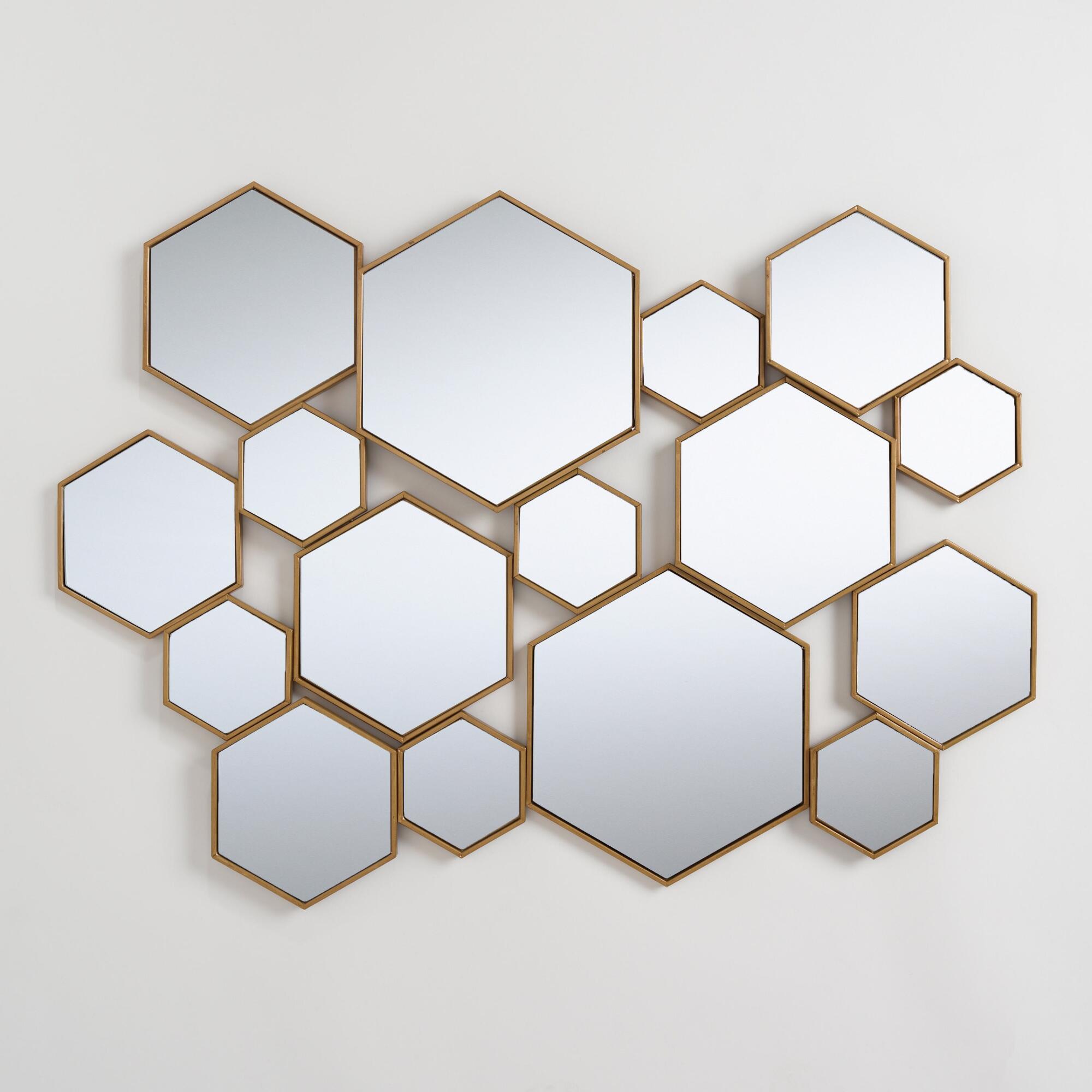 Brass Metal Hexagon Mirror Panel Metallic Gold By World