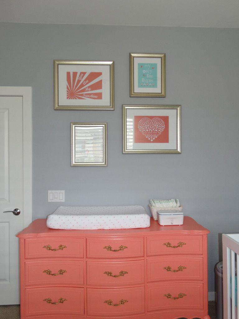 Noelle\'s Coral, Aqua and Gray Nursery with Gold Accents | Números ...