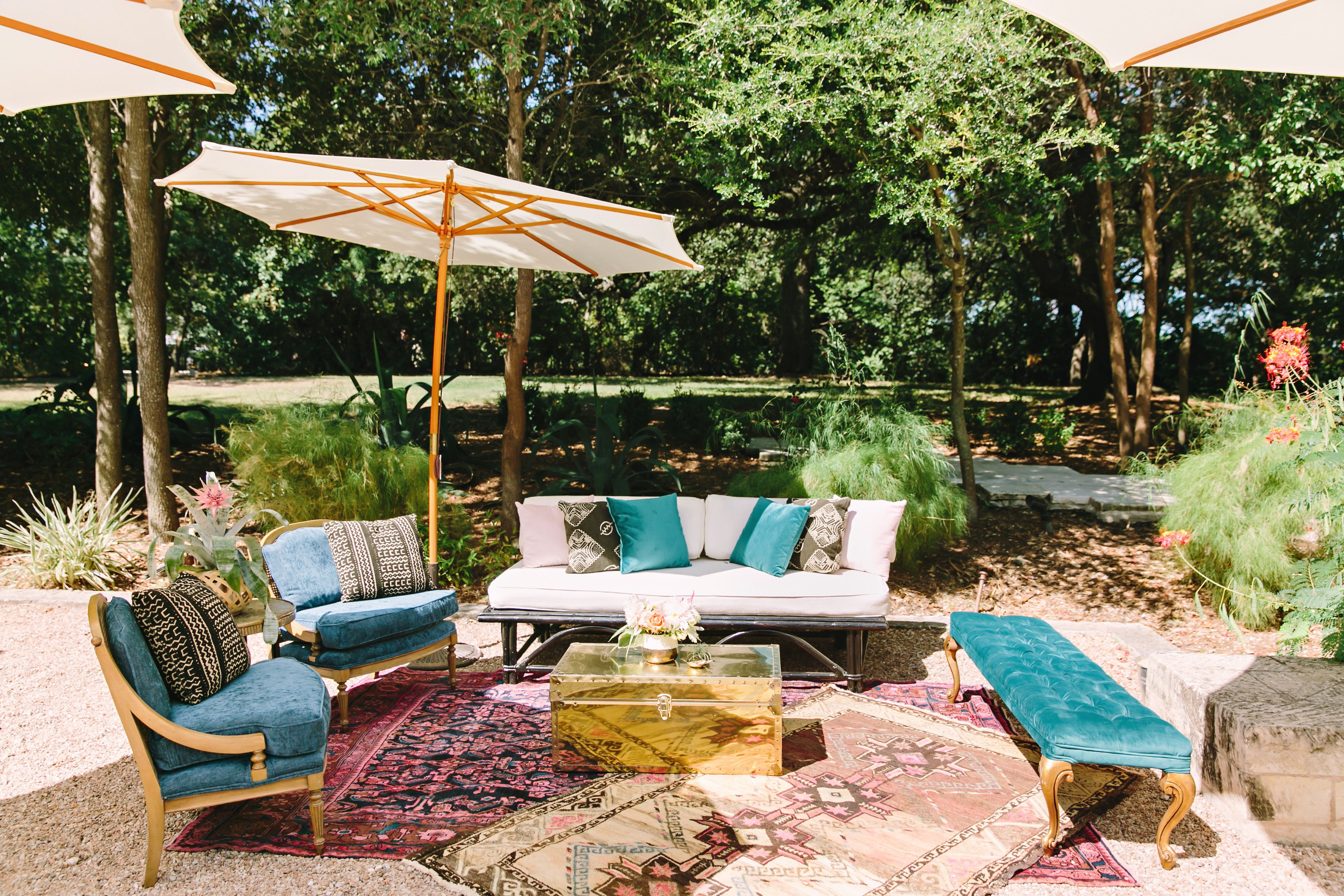 Peach and Blue Outdoor Lounge Furniture Rental | Mercury ...