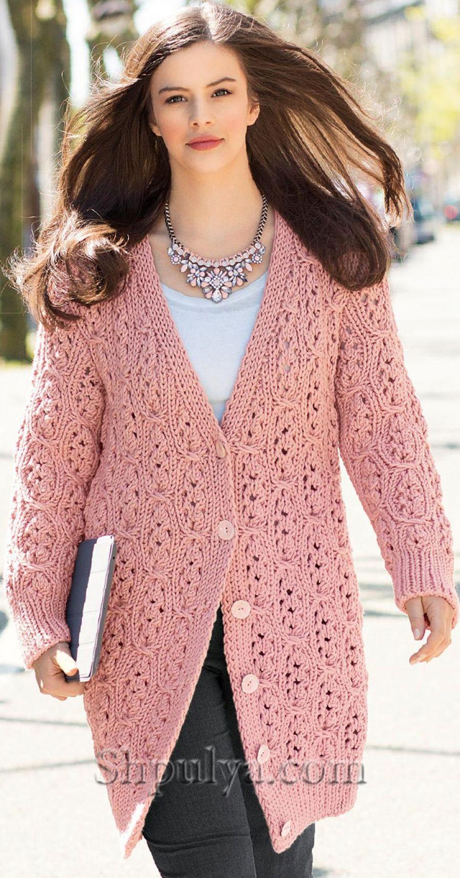 схемы и узоры вязания женского пальто размер 48 50