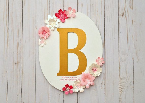 Oval Floral Frame Monogram Centerpiece Pink And Gold By