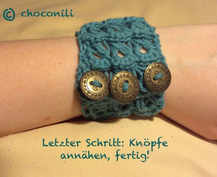 Tutorial: Armband im Broomstick-Muster   Häkeln, Armbänder und ...