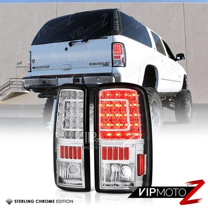 2000 2006 Gmc Yukon Xl Tahoe Suburban Chrome Led Rear Brake Tail Lights Lamp Set