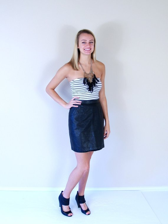 880492067 vtg 80s BLACK high waisted LEATHER Mini SKIRT Small tight rocker fitted  punk motorcycle indie dress