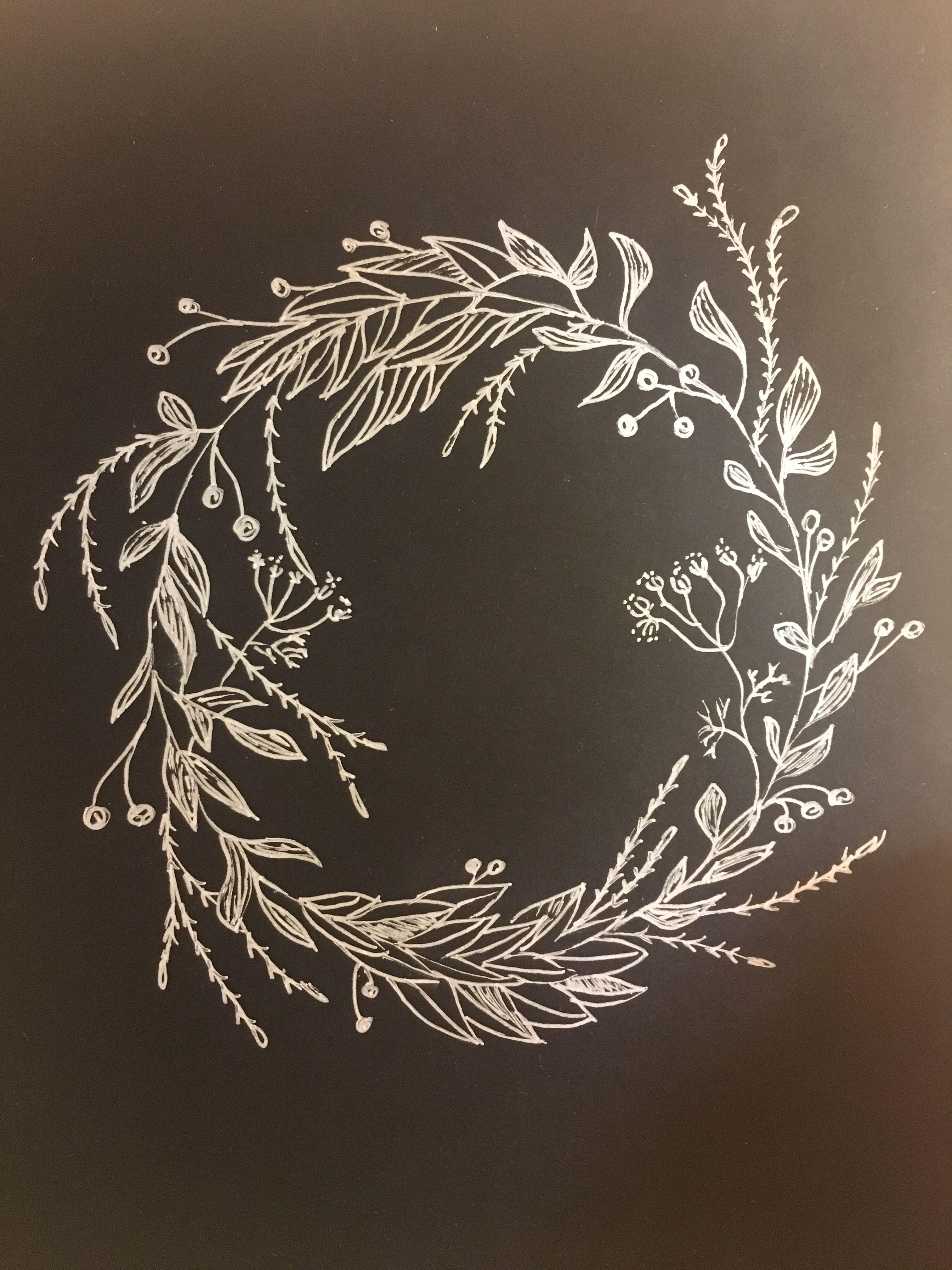 Photo of winter Christmas wreath sketch #christmaschalkboardartideas winter Christmas wre …