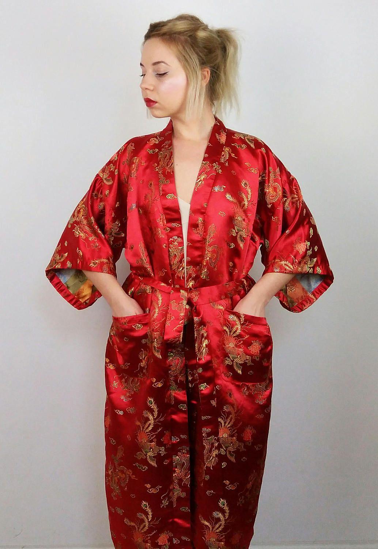 3652f0f49 Vintage 70's Gold Dragon Embroidery Kimono | Maxi Robe Wrap in Red | Kimono  Dress | Long Wrap Kimono Robe | Authentic Chinese Kimono by SarraMurra on  Etsy