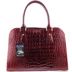 Sac à main en Cuir véritable façon cuir crocodile N1197 rouge bordeaux  OLIVIA 89372748b8a