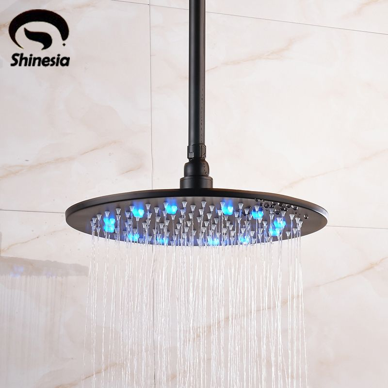 Oil Rubbed Bronze 12 Inch 16 Inch Led Rainfall Shower Head With