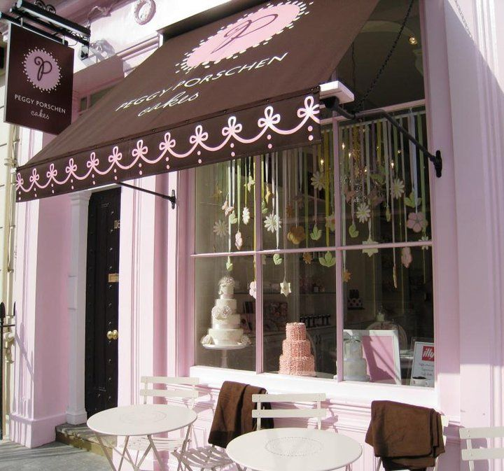Peggy Porschen S Cakes London England Pink Show Window Bakery Brown Awning Branding Cafe Store Front Windows Quaint Store Shop Fronts