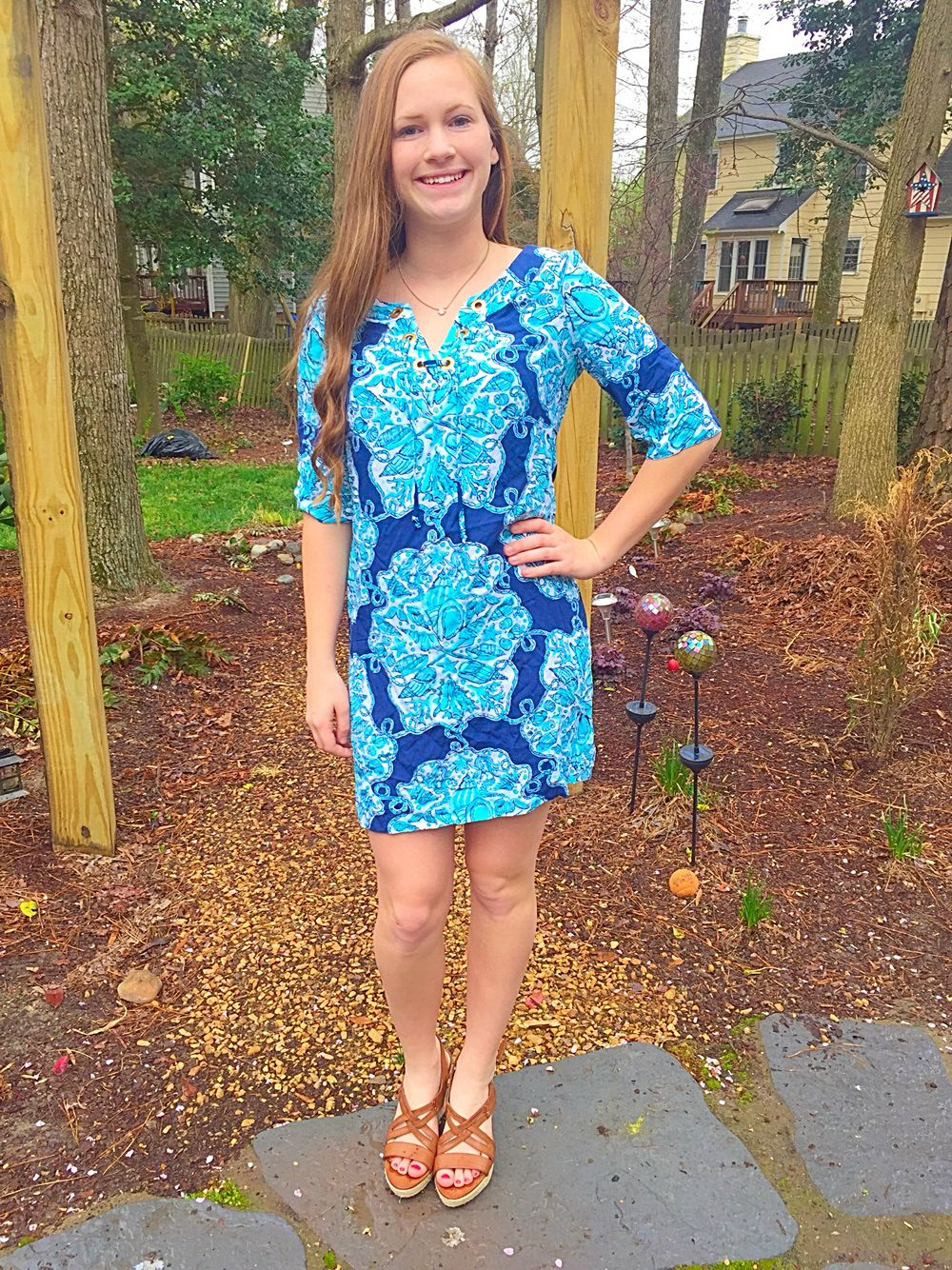 Vintage Lilly Pulitzer and Kendra Scott sun dress with wedges ...