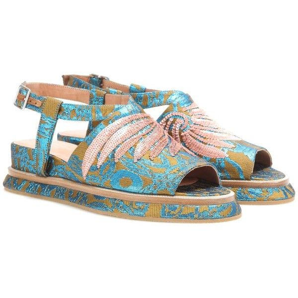 Embellished metallic jacquard platform sandals ($875) ❤ liked on Polyvore featuring shoes, sandals, decorating shoes, platform sandals, sequin platform shoes, metallic platform shoes and metallic sandals