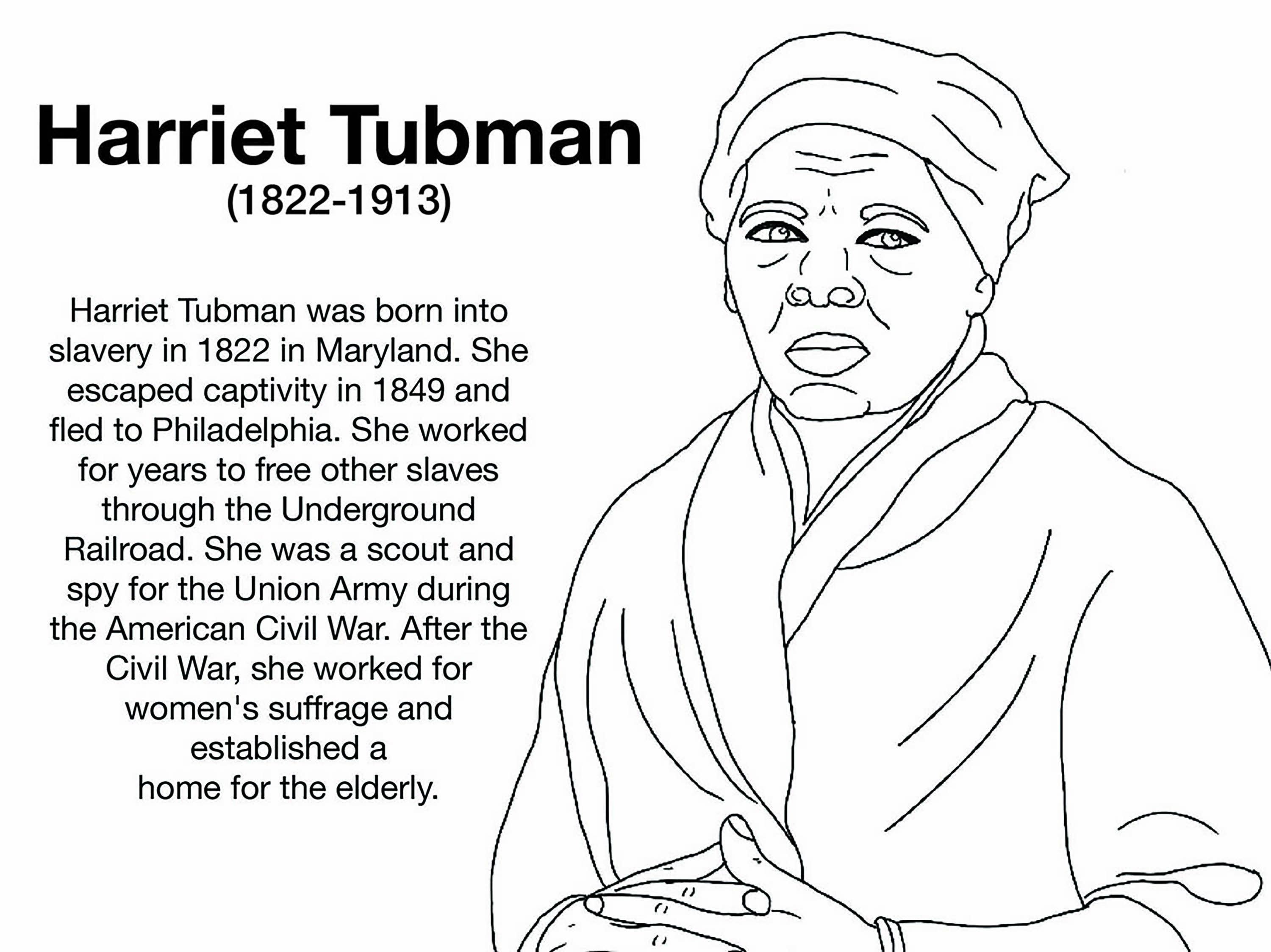 Free Harriet Tubman Coloring Page Coloring Pages Inspirational Coloring Pages Elsa Coloring Pages