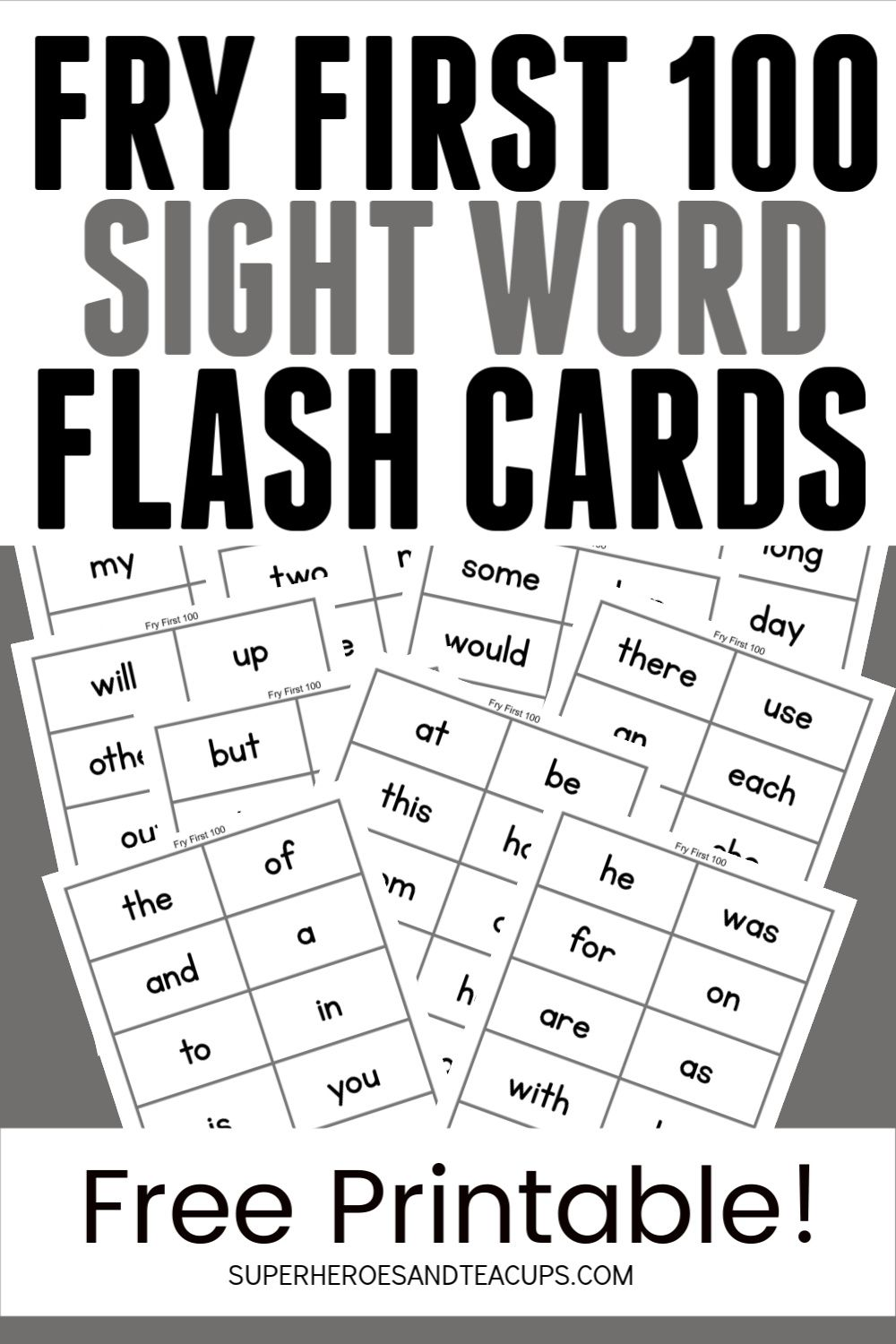 Fry Sight Word Flash Cards Free Printable Learning Ideas