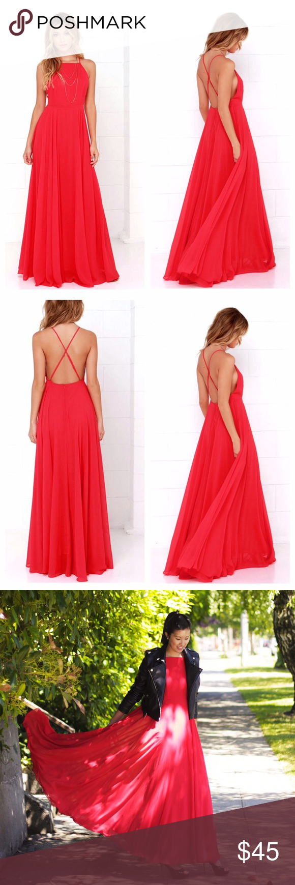 """Lulu's Mythical Kind of Love red maxi dress This gorgeous red maxi dress is the perfect show stopper for any event. It has only been worn once and laundered. The dress is fully lined with adjustable straps. Invisible zipper down the back. I'm 5'9"""" (6"""" in the last photo with heels on) and the dress is still long enough to cover my ankles. Size small. Lulu's Dresses Maxi"""