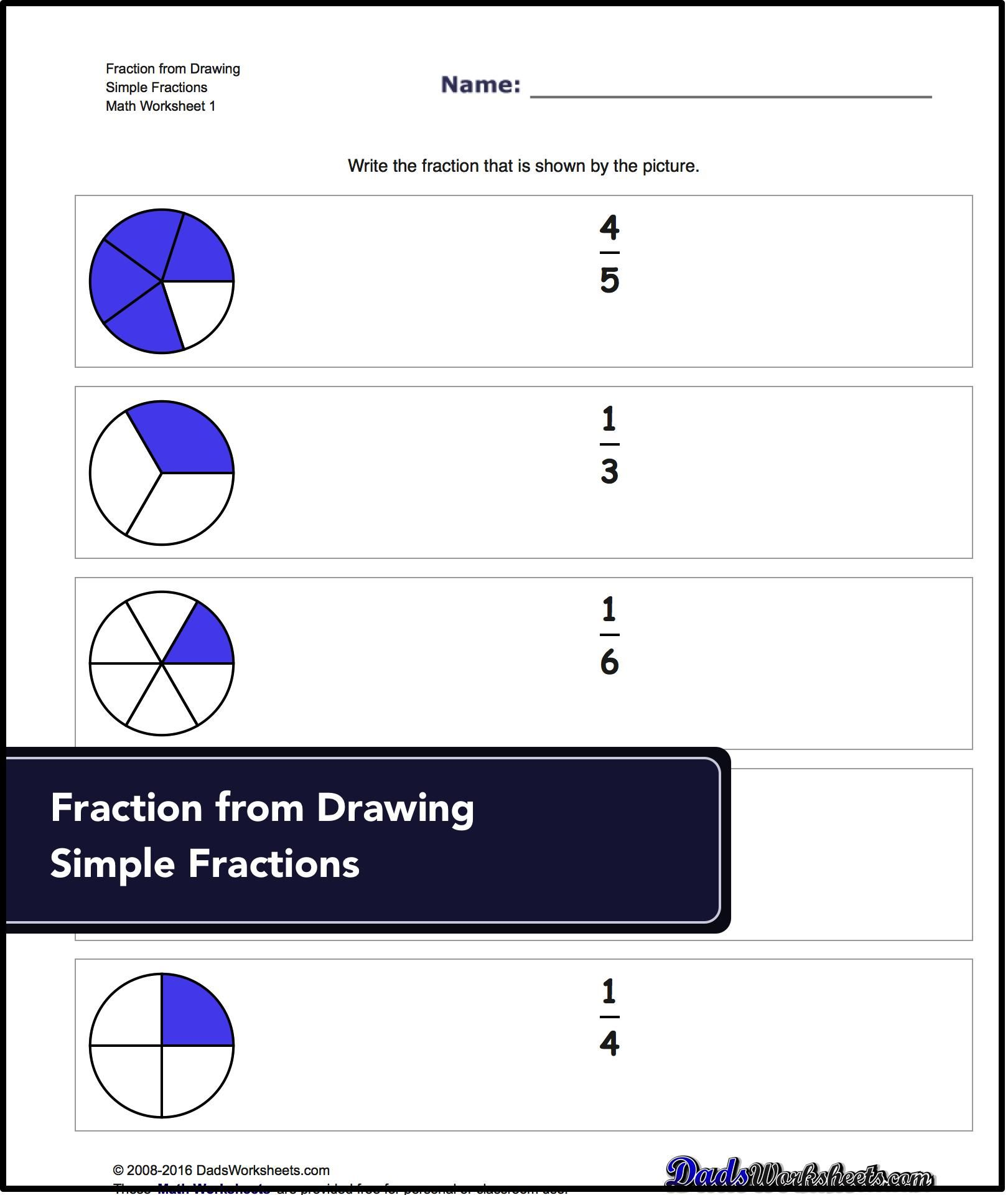 Graphic Fractions Worksheets Exercises That Create Familiarity With