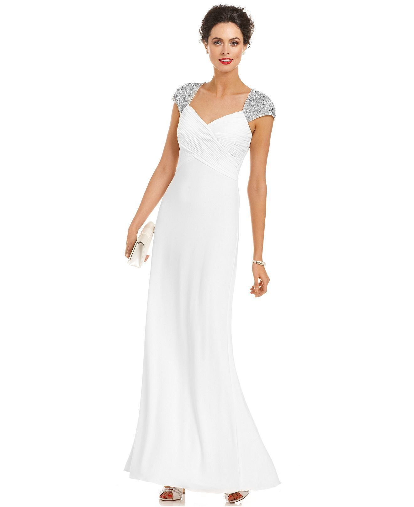 JS Boutique Dress, Cap-Sleeve Beaded Pleated Evening Gown - Womens ...
