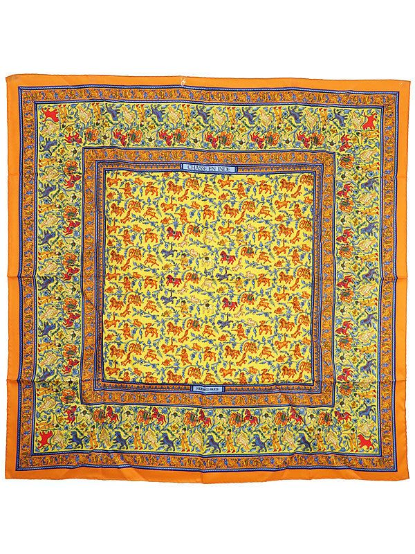 HERMES Auth Silk Scarf Carre 90 CHASSE EN INDE Orange Blue Ladies FS EC #0519 #HERMES #Scarf