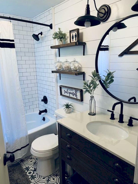 50 Stunning Farmhouse Bathroom Remodel Ideas On A Budget White Bathroom Decor Bathroom Decor Farmhouse Bathroom Decor