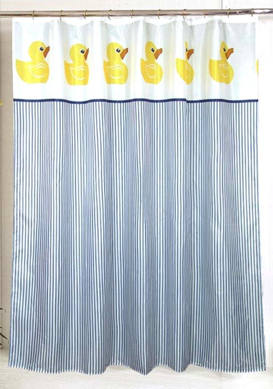 Cute Rubber Duckies On The Top Border Contrast With Rich Blue Striping In The Body Of The Cu With Images Fabric Shower Curtains Striped Shower Curtains Duck Shower Curtain