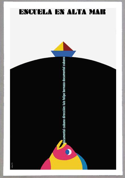 """Cuban movie Poster 4 film/""""Escuela en ALTA mar.Sea Fishing School/""""Colorful Fish"""