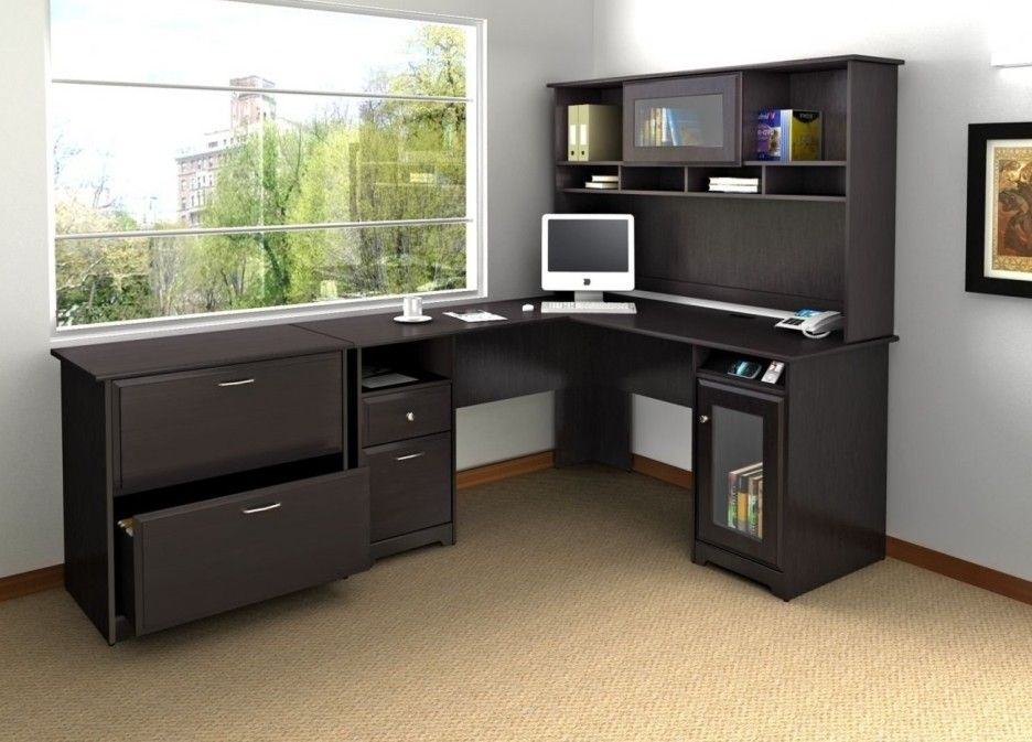 Modular Desks Home Office : Modular Home Office Furniture Of Black L Shaped  Desk Designed With Shelf And Storage Combine With Brown Floor
