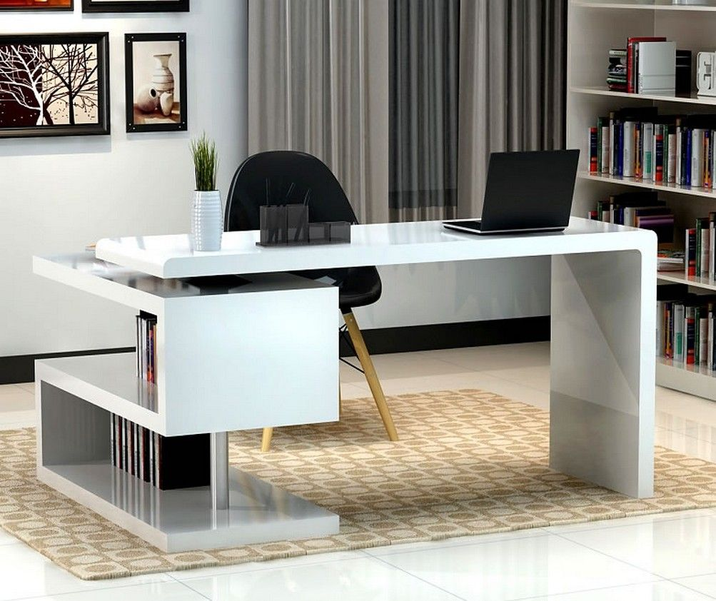 Modern Home Office Design Displaying High Gloss Finish White