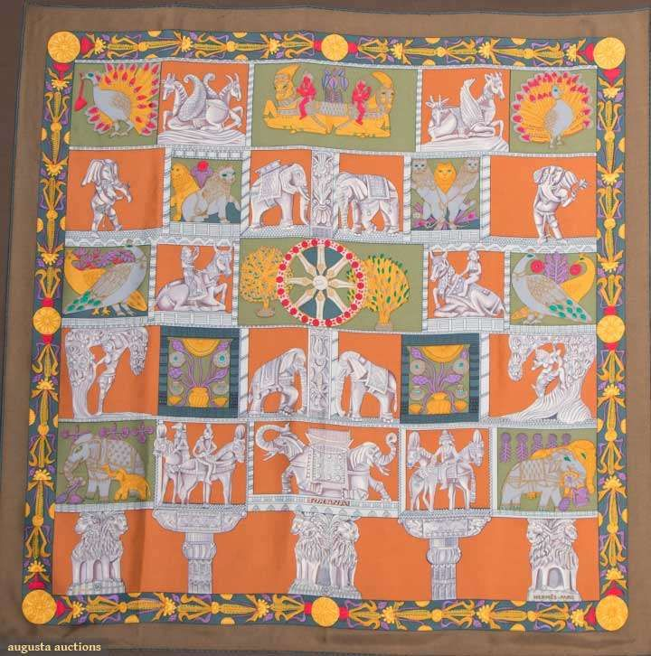 Hermes Silk Scarf, Paris, 20th C, for upcoming auction. #textiles