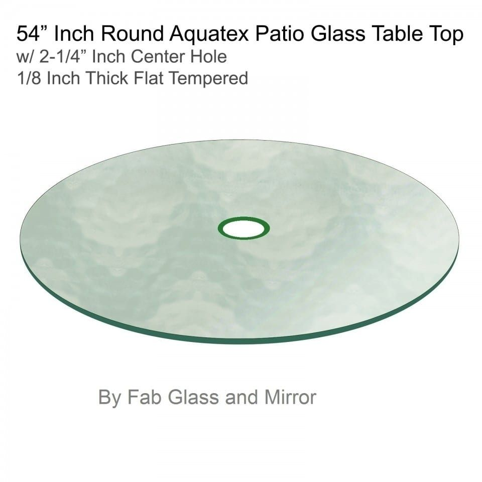 Aquatex Patio Round Glass Table Top Flat Tempered W/ 2 1/4 Hole (54  Inches), Clear, Patio Furniture