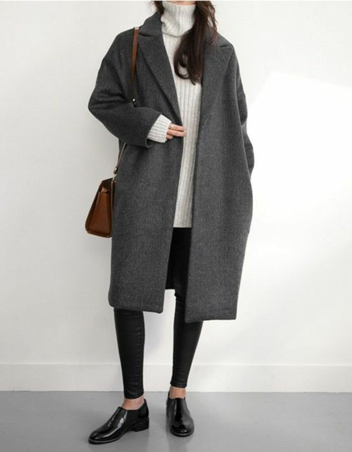 What can a gray coat be combined with? – 70 outfits