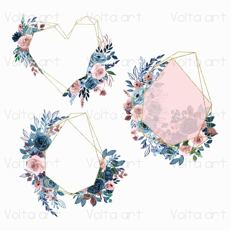 Peony floral frames Pink Navy Blue clipart PNG Commercial use Hand drawn floral elements Watercolor Dusty Pink Indigo wreaths